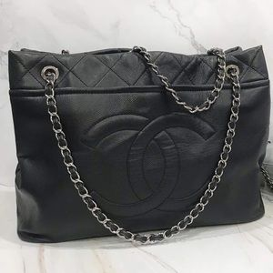 Chanel XL Tote - Caviar Leather and Silver Chain